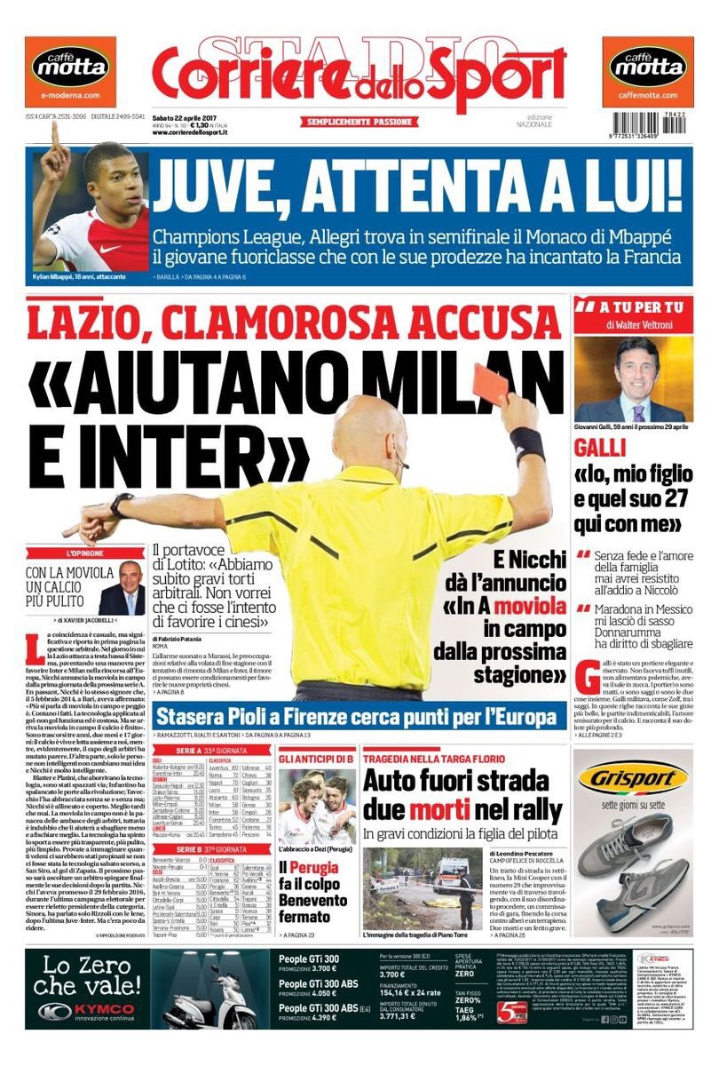 Front page of #CdS:  -&gt; #Juve, look out for him!  -&gt; [Mr.] #Allegri meets #Mbappé &amp; #Monaco in #UCL semis  #JuveMonaco #MonacoJuve #JStadium<br>http://pic.twitter.com/hqQHOsntaQ