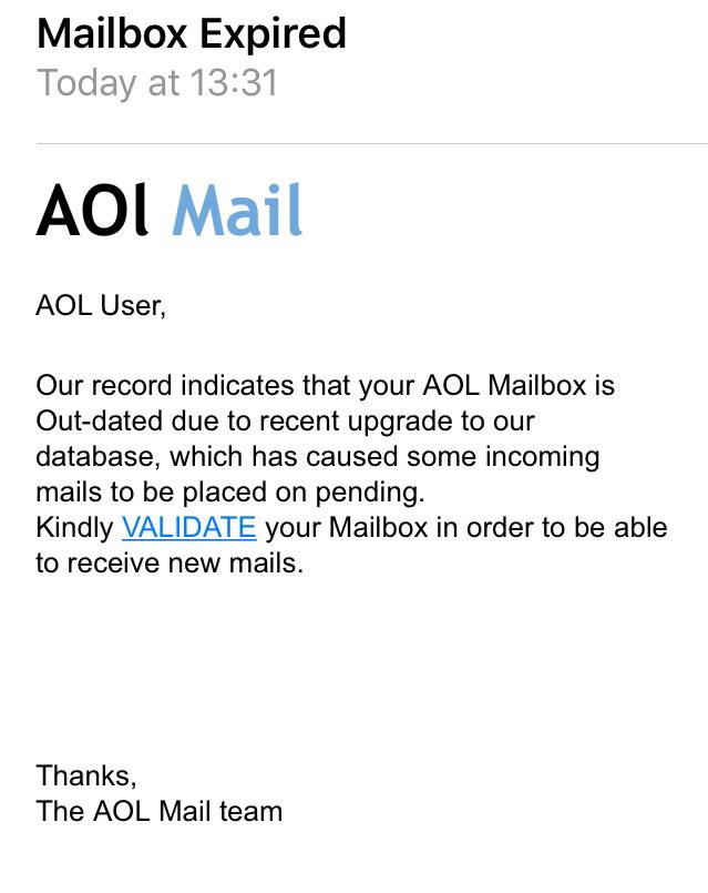 Aol mailbox expired