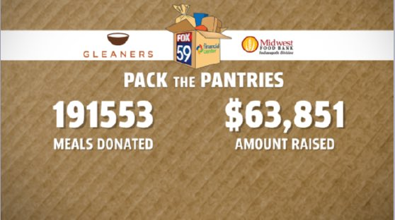 Thank you all to who helped and donated to the @FOX59 #PackThePantries event. We raised more than 250 percent of our of goal! <br>http://pic.twitter.com/cm0VKFBG5Y