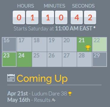 Ludum dare 15th year starts in approx an hour!  https:// ldjam.com / &nbsp;   #gamedev #ue <br>http://pic.twitter.com/yiRf1wgCiP