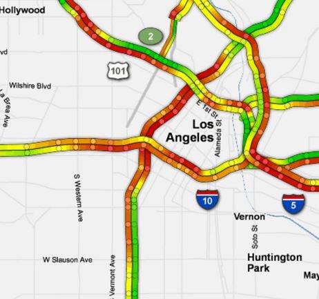Knx 1070 Traffic Map.Traffic Alert Sb 110 Freeway Closed In Downtown La For Police