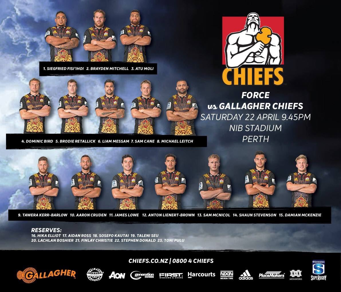 Here's YOUR Gallagher Chiefs team to play the Force this Saturday in P...