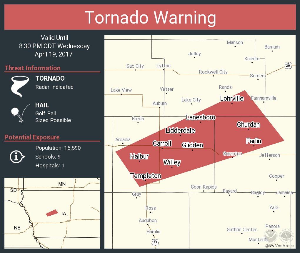 Tornado Warning including Carroll IA, Glidden IA, Churdan IA until 8:30 PM CDT