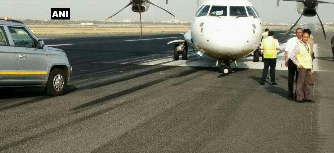 Jet Airways Dehradun to Delhi flight experienced nosewheel malfunction after landing yesterday at Delhi airport, resulting in steering problem