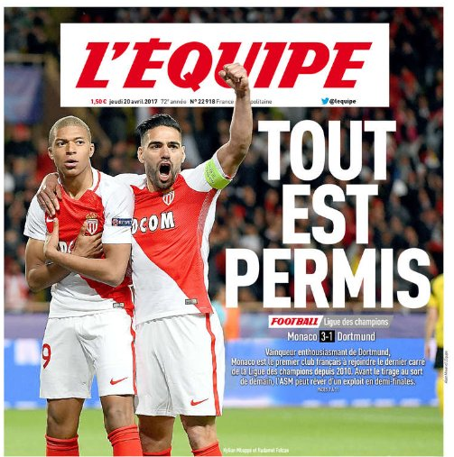 #UCL &quot;Everything is allowed&quot; says L&#39;Equipe ahead of Friday&#39;s draw #ASMBVB <br>http://pic.twitter.com/XBJjdKB5dj