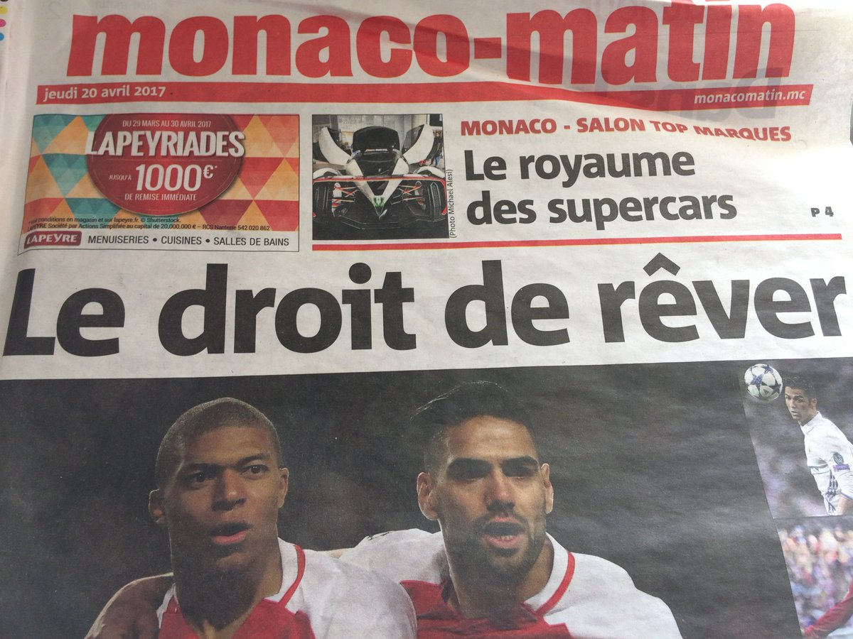 #UCL &quot;The right to dream&quot; is the monaco-matin front page. And why not when you&#39;ve got forwards as good as #Mbappé and #Falcao<br>http://pic.twitter.com/jjI2tMGZaw