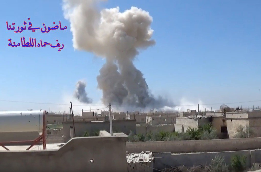 Al-Lataminah this morning. Russian parachute-borne bombs are raining on the town