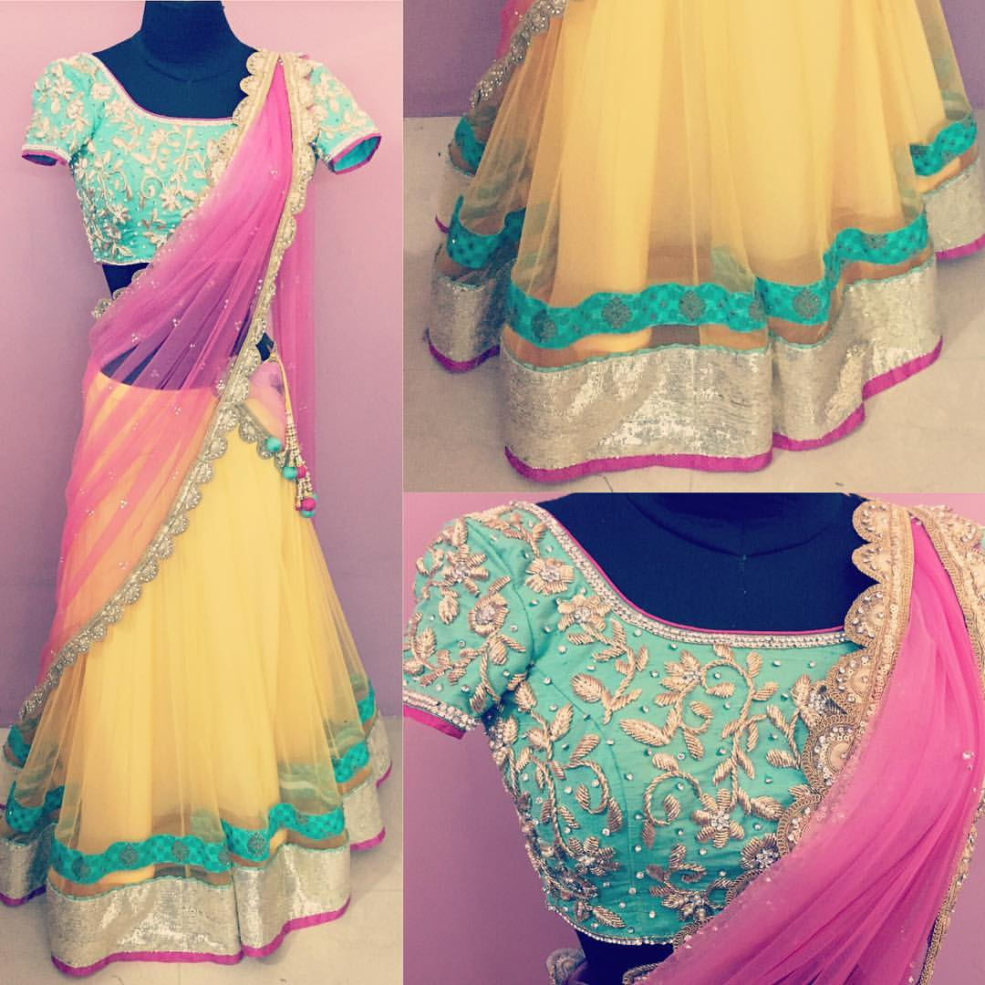 Summer pastels yellow lehenga from Nazia Syed . bridal fashion  chennai designer  wedding wear  couture  pastel lehenga  sangeet style  .