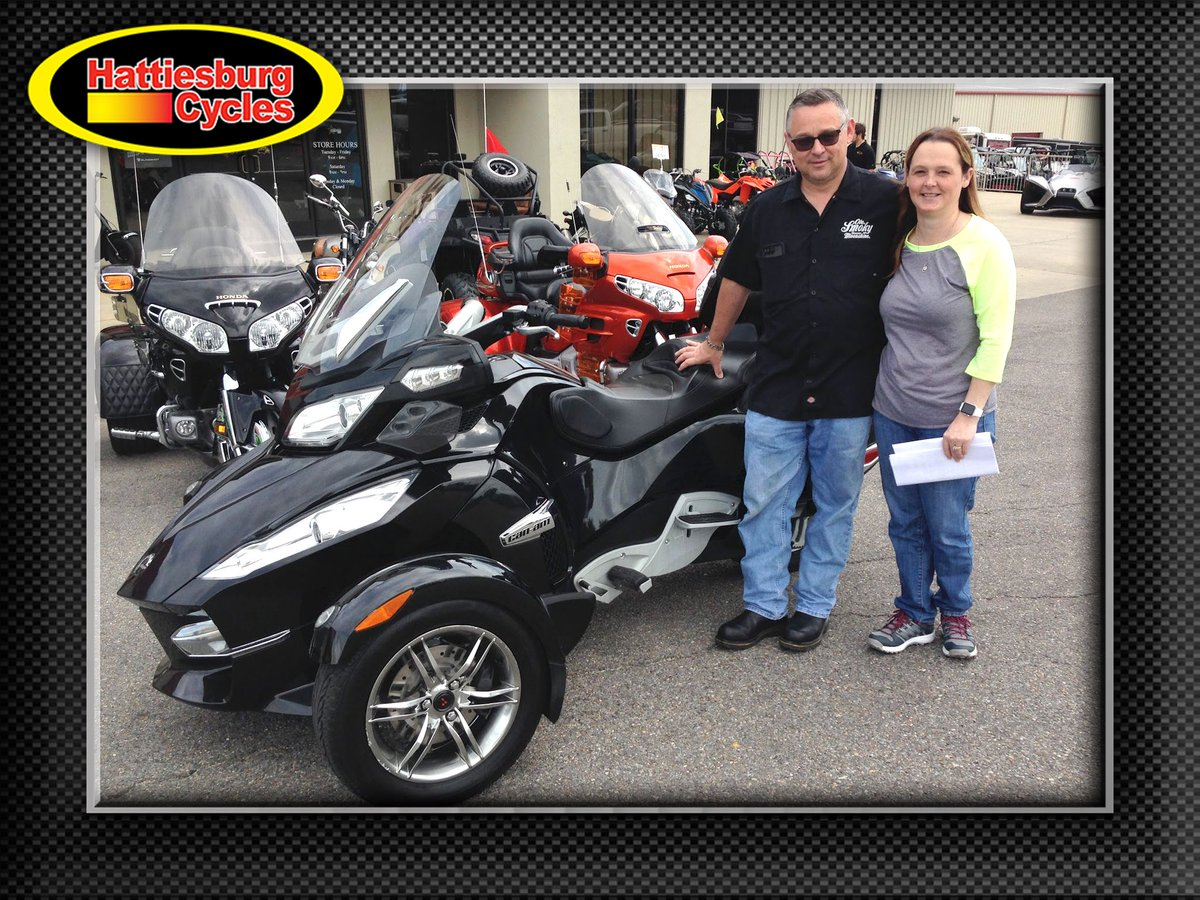 Thanks to Tom and Anissa Spicer from Gautier MS for getting a 2010 Can-Am Spyder RT at Hattiesburg Cycles #canam <br>http://pic.twitter.com/ONBshX4HLB