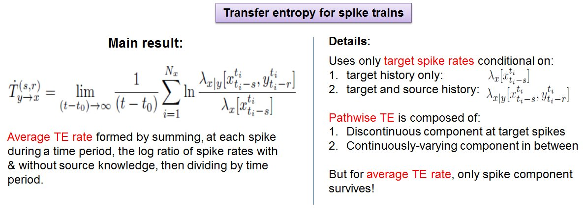 @abc_aalto (4) Simple form 4 TE rate 4 spike trains! Sum @ each spike log ratio of spike rates with & without source knowledge, divide by time #brainTC https://t.co/V4sLkxpQTf
