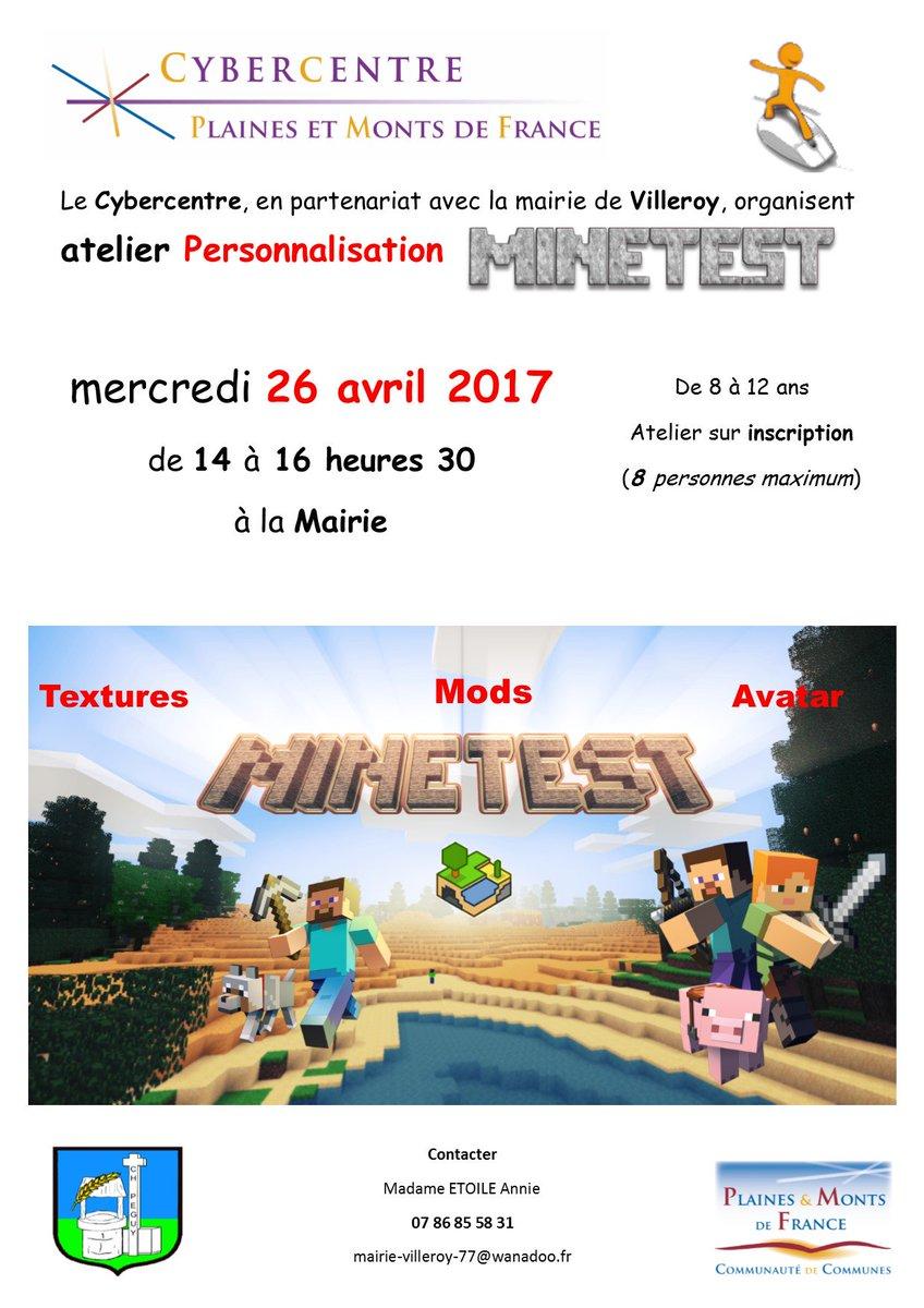 #atelier #numerique #creation #minetest #mairie Villeroy (77410) mercredi 26/04 - 14 heures pic.twitter.com/Pq6T3SeUR8