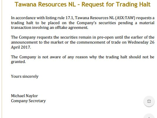 Haplo On Twitter Tawana Resources Taw And Amal In Trading Halt