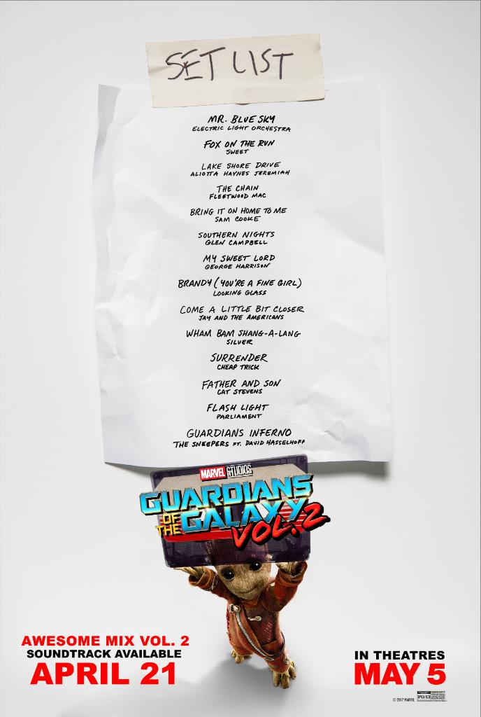 """RT @Marvel The hits keep coming. Check out the set list for """"@Guardians of the Galaxy Awesome Mix Vol. 2""""! #GotGVol2"""