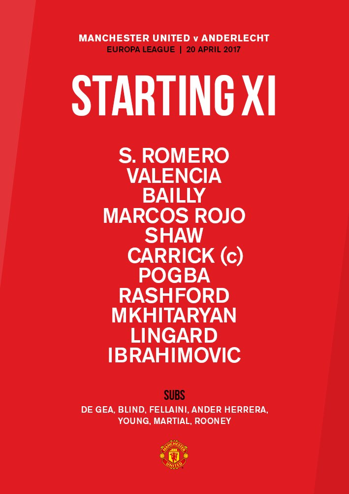 Here's how #MUFC will line up against Anderlecht in the #UEL this even...
