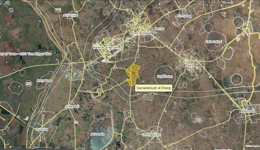Ahrar al-Sham destroyed a government 14.5 mm gun with an ATGM on al-Samadaniyah al-Sharqiah front, Quneitra, Syria.