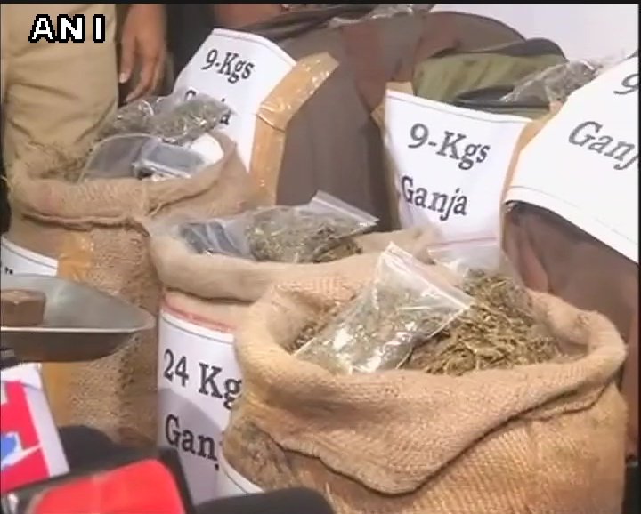 Hyderabad (Telangana): Police apprehended four members of a Cannabis smuggling gang and seized 100 Kg Cannabis in Quthbiguda