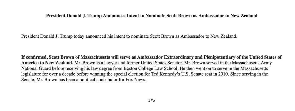Trump to nominate Scott Brown as U.S. Ambassador to New Zealand