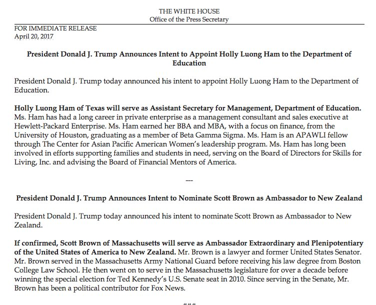 """White House announcement refers to """"Scott Brown of Massachusetts."""" No mention of New Hampshire, where he moved in 2013."""