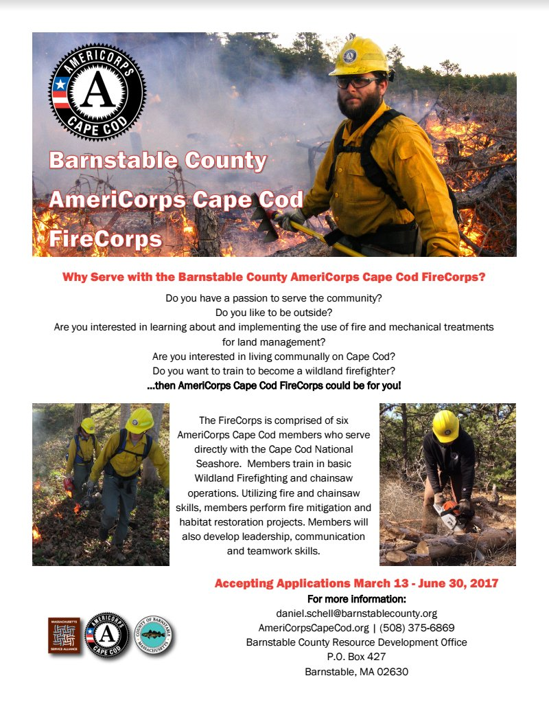 christopher barry dajar312 twitter flier about americorps cape cod firecorps