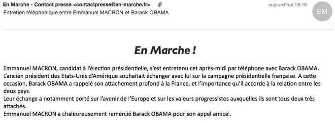 Un appel #Macron #Obama à trois jours du premier tour. Deux communiqués. (via @ZekeJMiller pour la version US)