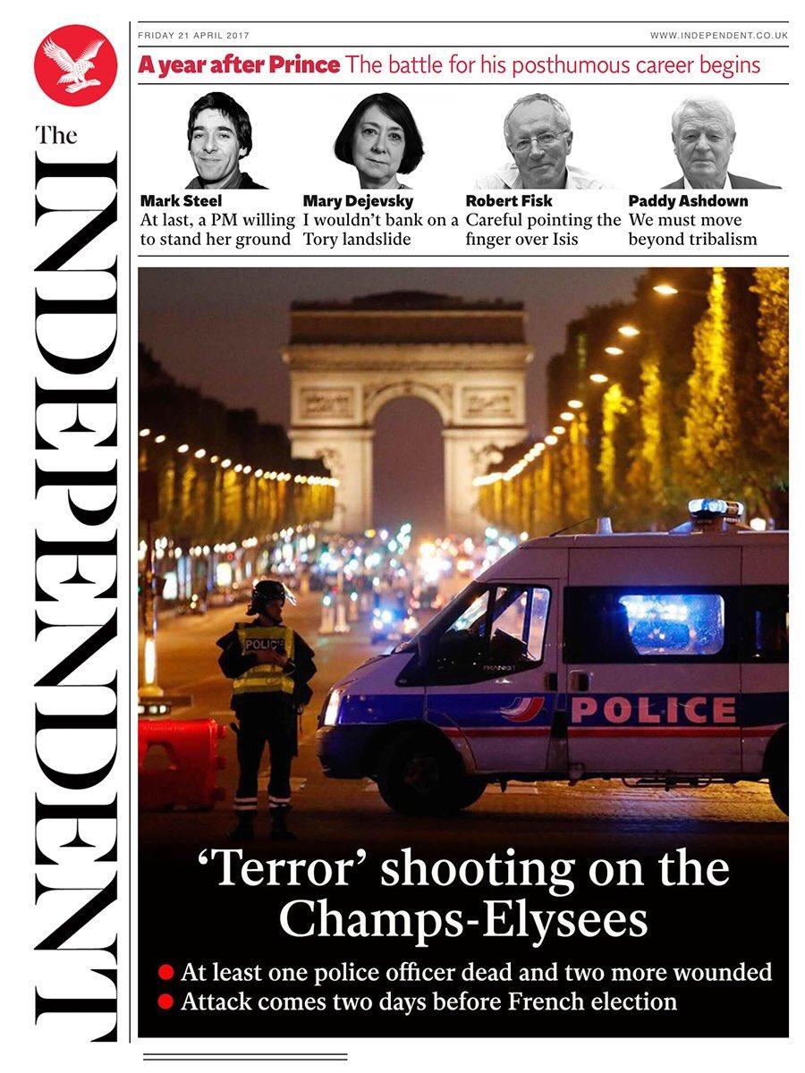 Paris et les Champs Elysées en UNE de la presse étrangère suite à l'attaque terroriste. #ChampsElysees #Paris #attentat #attaque #terrorismepic.twitter.com/qAeC8F6FwQ