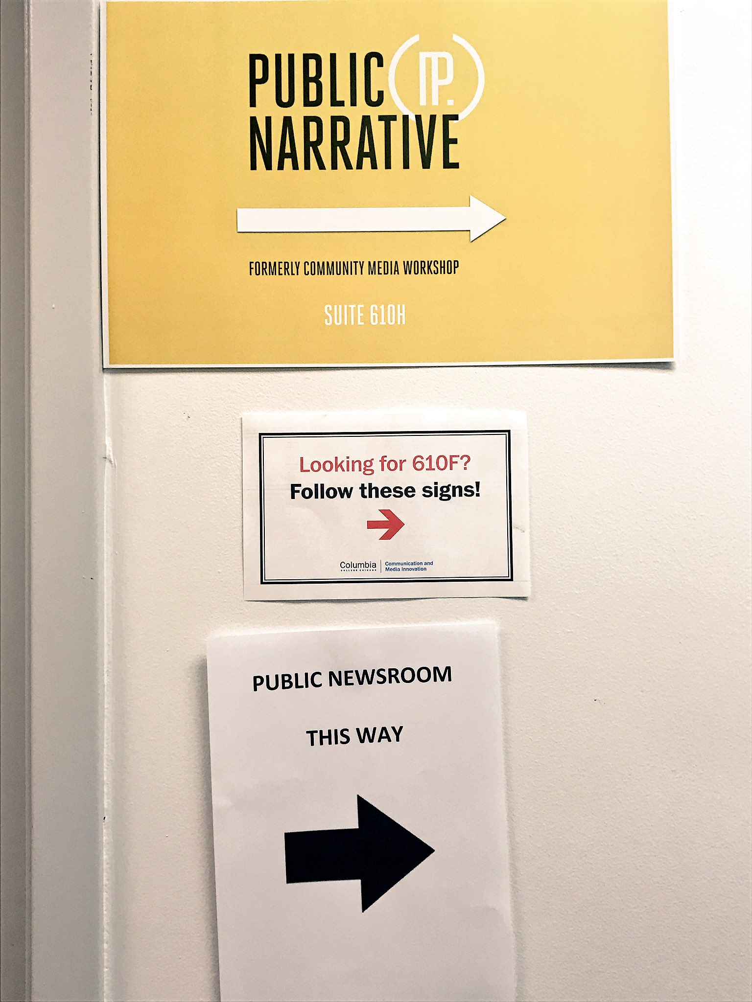 Follow the signs. @city_bureau and @SouthSideWeekly's #publicnewsroom is at @PublicNarrative tonight. https://t.co/XBrF8NnUE1