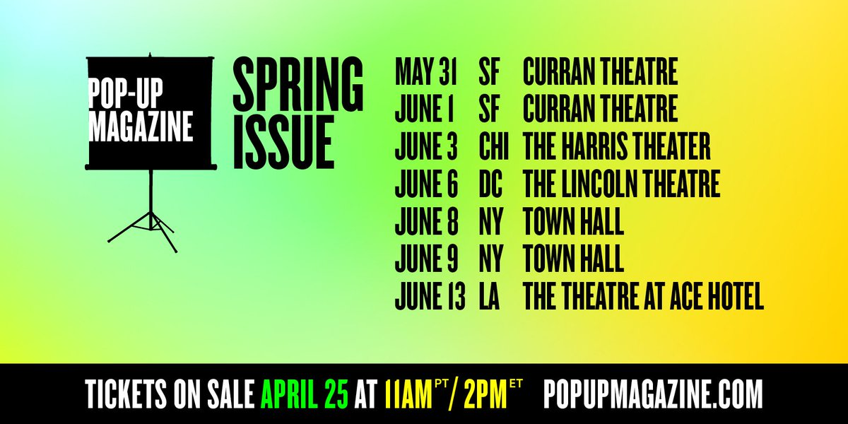 Hey, we're back with new shows! Tickets to our Spring issue are on sale next week. Pass it on! https://t.co/glwyaE62Gz