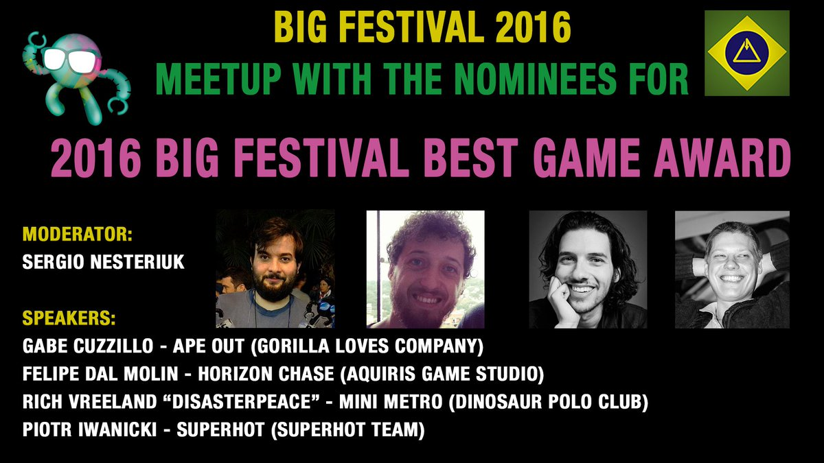 Learn more about the Nominees for the 2016 @BIG_Festival &quot;Best Game #Award&quot;  https://www. youtube.com/watch?v=2yIjMe GjGd8 &nbsp; …  #indiedev #indiedevhour #gamedev #brazil<br>http://pic.twitter.com/qmaw0bmlkI