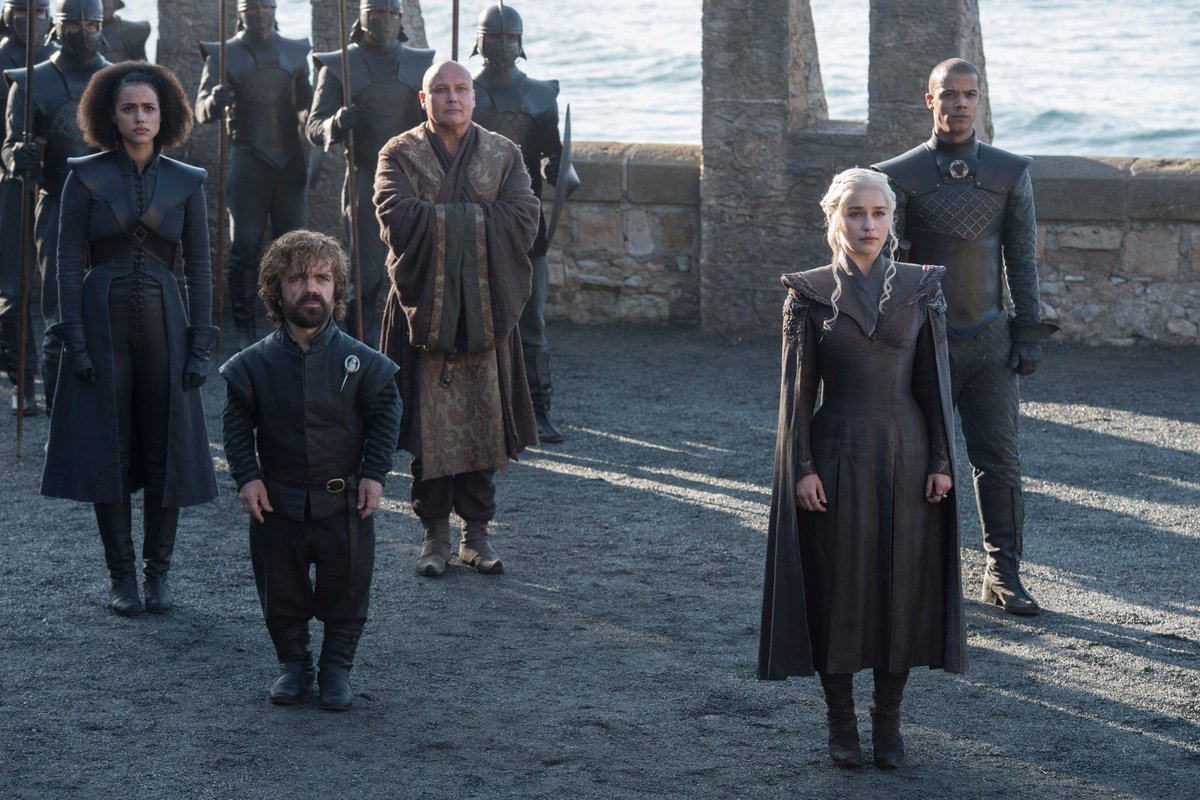 Missandei, Tyrion Lannister, Varys, Daenerys Targaryen, and Grey Worm.  #GoTS7 #GameofThrones (Photo: Macall B. Polay/HBO)