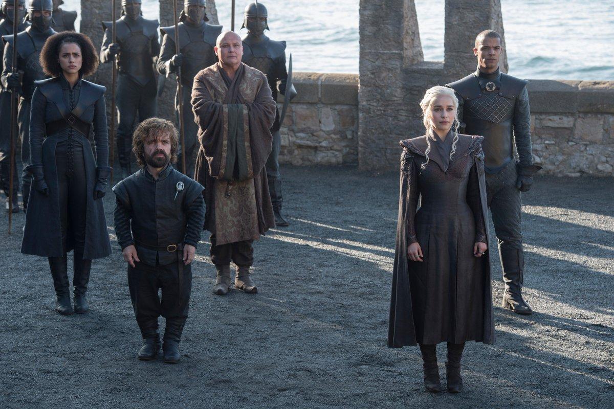 Missandei, Tyrion Lannister, Varys, Daenerys Targaryen, and Grey Worm.  #GoTS7 #GameofThrones (Photo: Macall B. Polay/HBO)