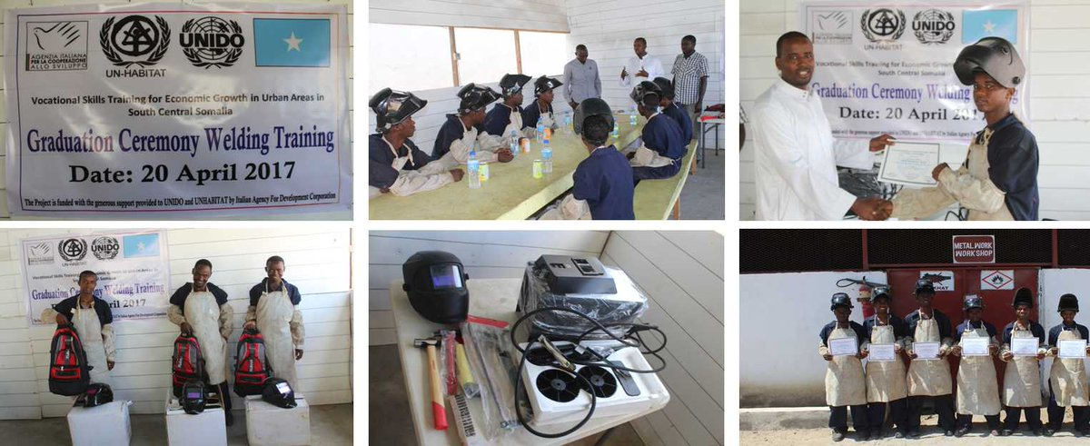 Today in #Kismayo @UNIDO graduated 6 trainees frm our practical &amp; product-focused #Welding training session. 3 received toolkits as #Capital <br>http://pic.twitter.com/rJOFIbgr7k