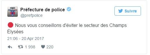 La préfecture de police de Paris conseille d'éviter le quartier des Champs-Elysées. https://t.co/f0fWAEBM4S
