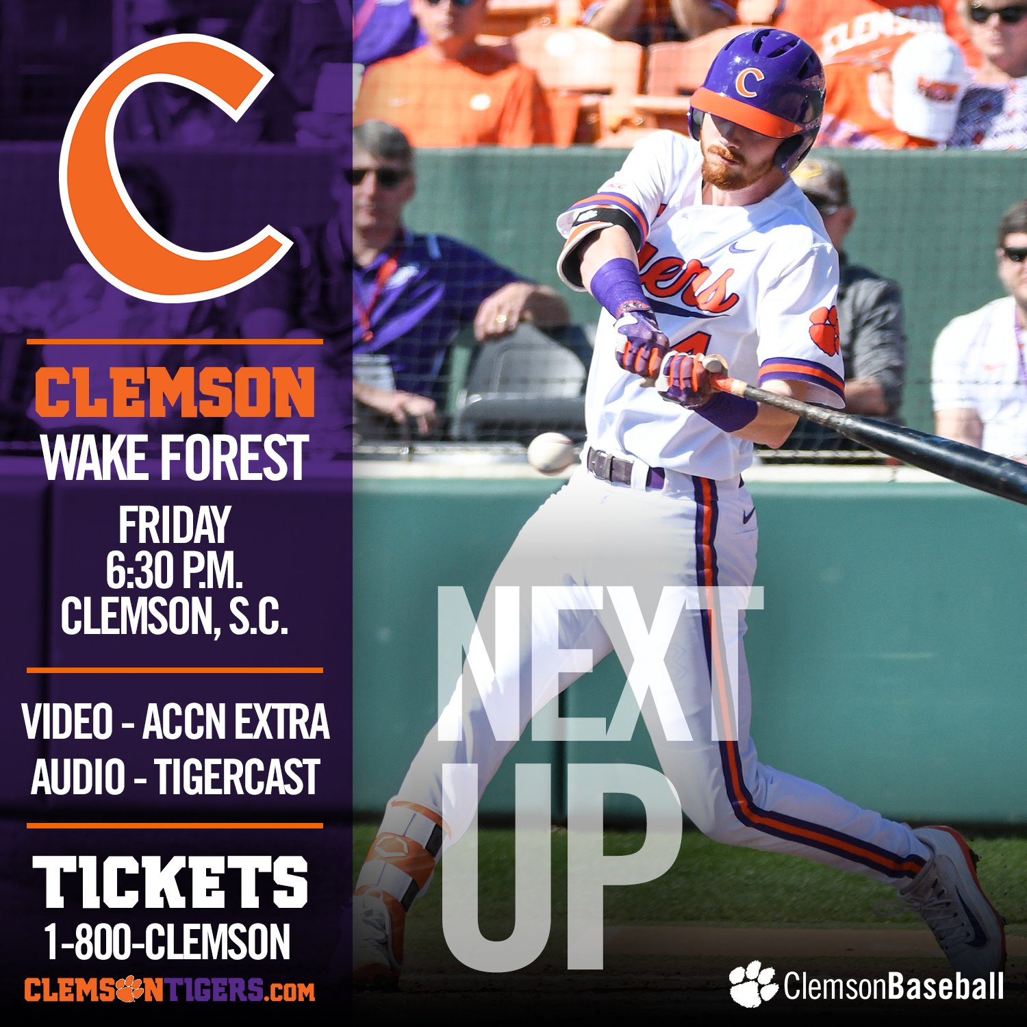 It's an @ACCBaseball gameday at #Clemson. The Tigers host WF at 6:30 p.m.!  GAMEDAY - https://t.co/9Ju858VN2E https://t.co/9RFXlsML1t