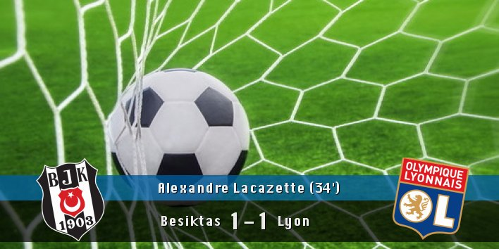 GOAAAL!! Alexandre Lacazette ('34) scores!!  #Besiktas 1 #Lyon 1 pic.twitter.com/Bo00MLv4OD