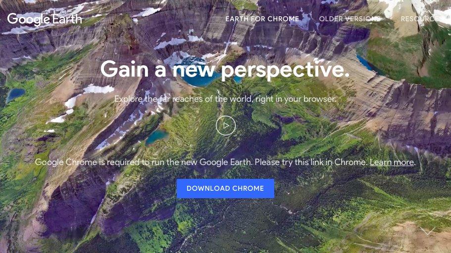 Errr... The new @googleearth requires @googlechrome? 👎