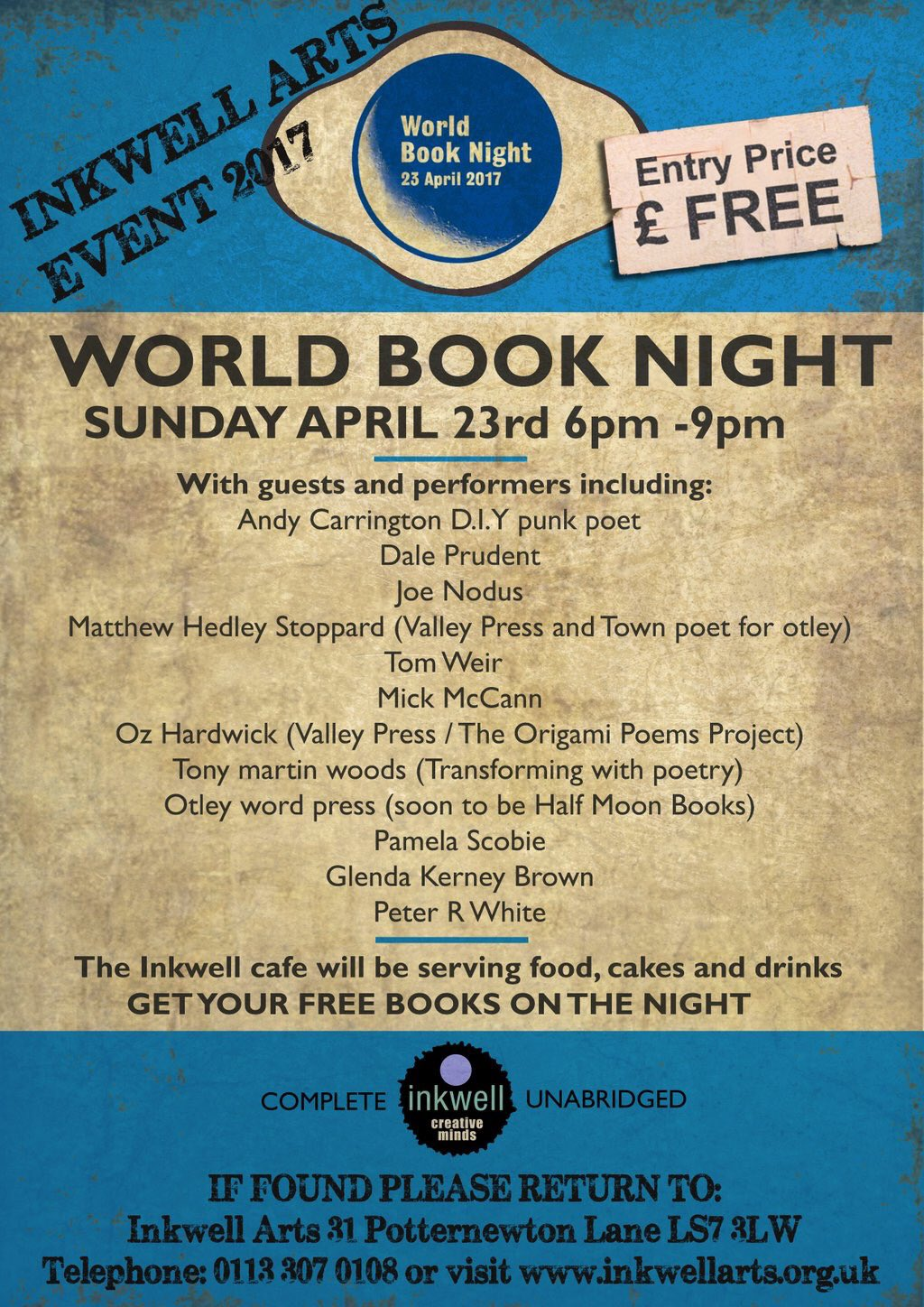 Don't forget! World book night @InkwellArts this Sunday- free entry and loads of good stuff happening 😀 https://t.co/1mjSLfV7dF