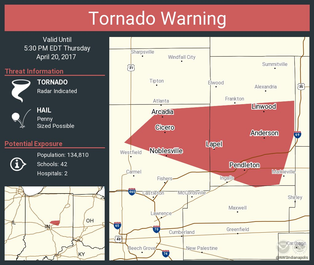 Tornado Warning including Anderson IN, Noblesville IN, Cicero IN until 5:30 PM EDT