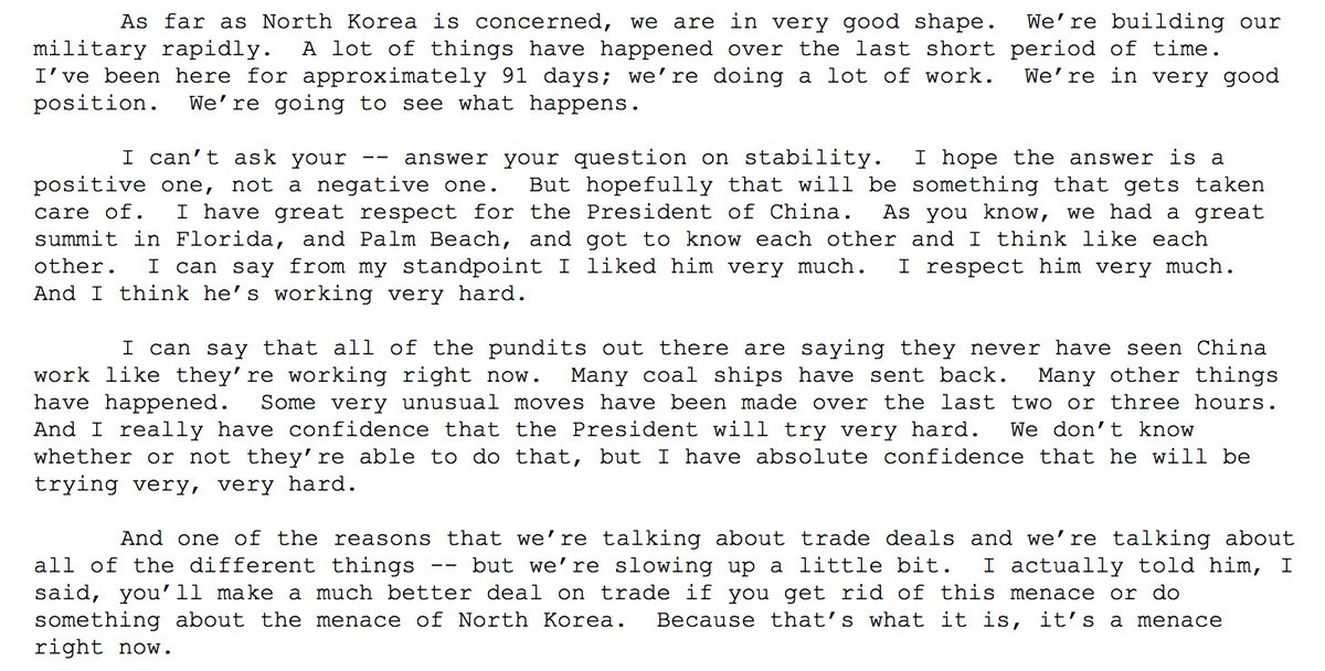 This is the full response @POTUS made to the questions on DPRK this afternoon.