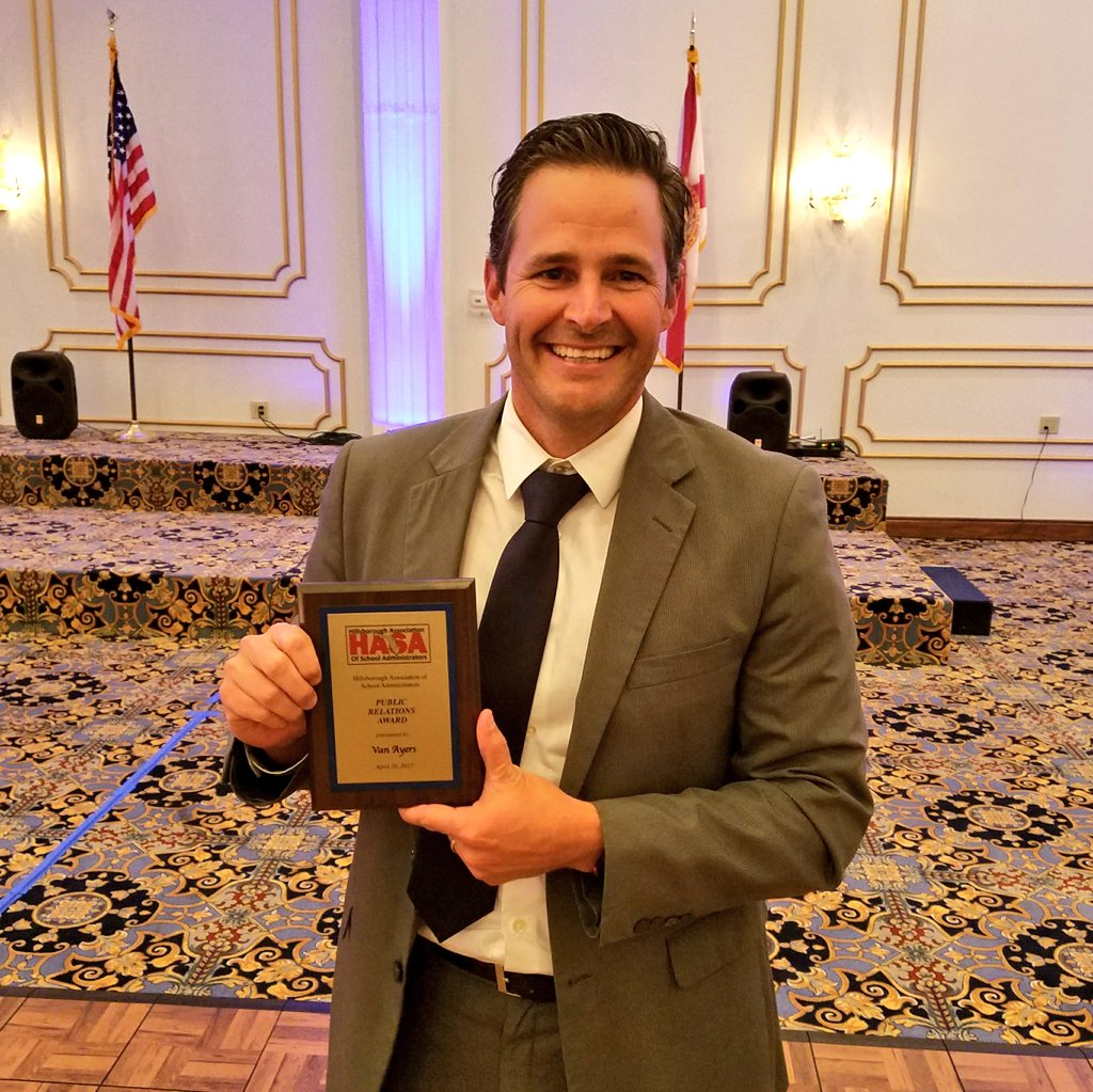 Congratulations @VanAyresHCPS  for winning the HASA Public Relations #Award @HillsboroughSch @Jeff_Eakins<br>http://pic.twitter.com/5O1U845J1Z