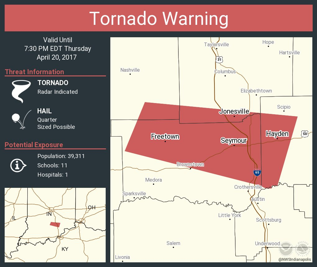 Tornado Warning including Seymour IN, Hayden IN, Freetown IN until 7:30 PM EDT