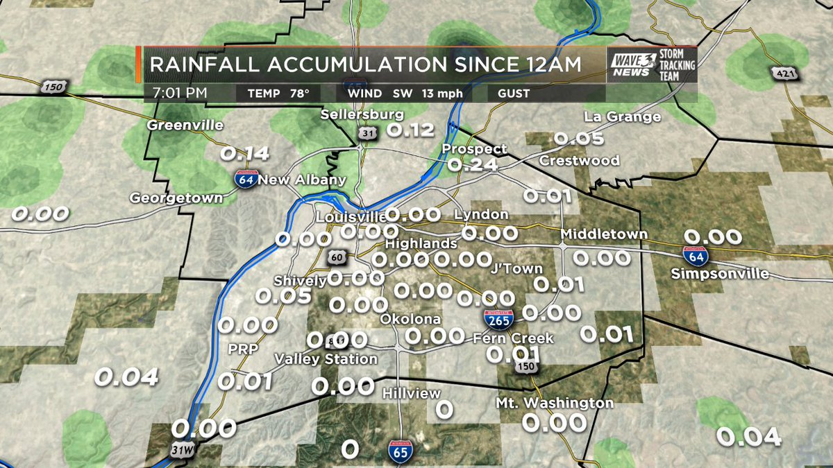 Feast or famine today so far with rain in #Louisville. Quarter inch in...