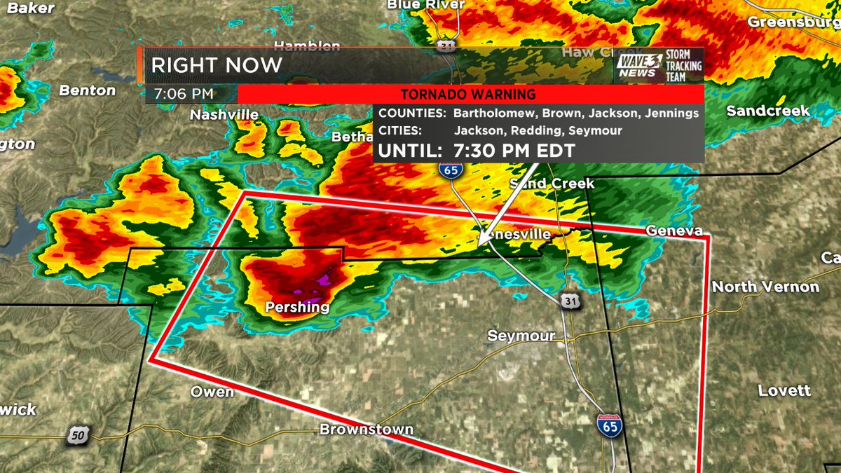 TORNADO WARNING for Jackson & Jennings Co until 7:30pm. Includes S...