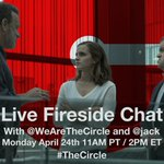 Join us Monday for a fireside chat with @jack and the cast of @WeAreTheCircle LIVE from Twitter HQ! #TheCircle