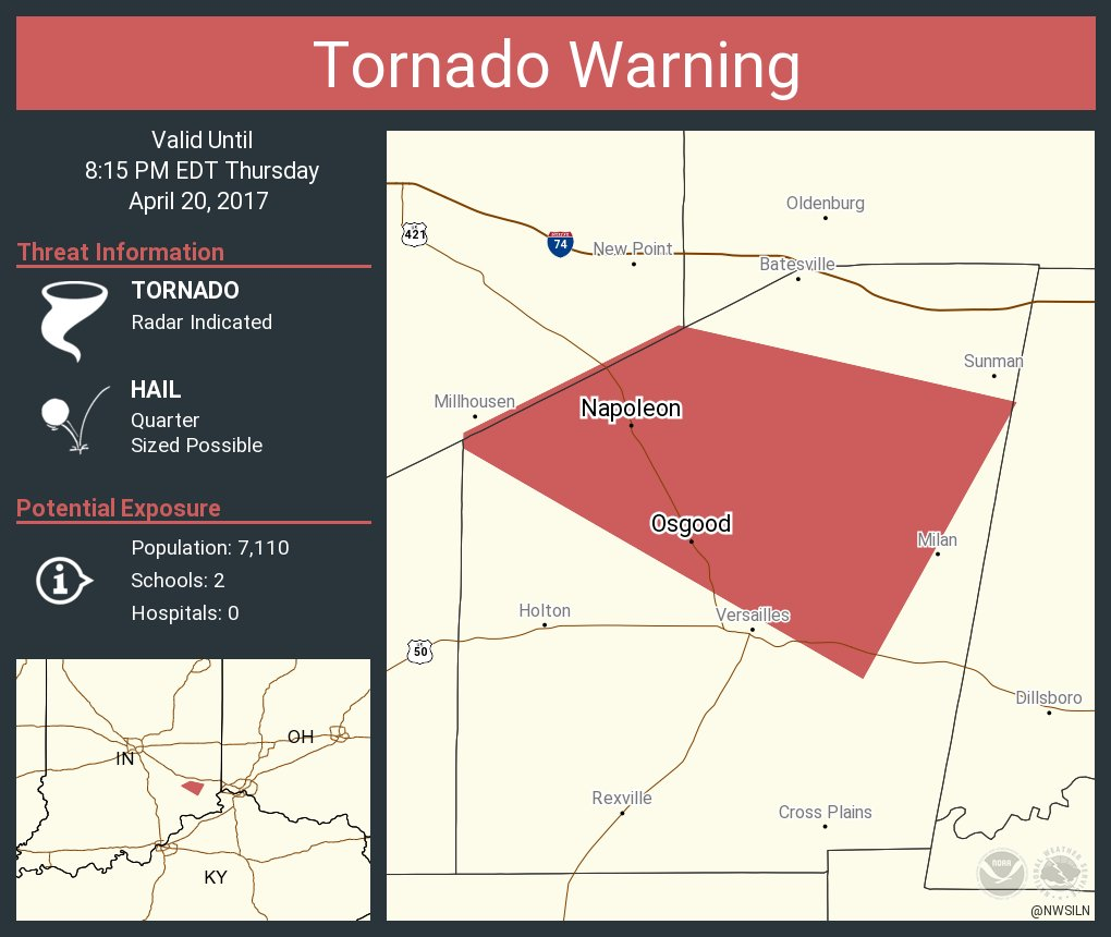 Tornado Warning including Osgood IN, Napoleon IN until 8:15 PM EDT