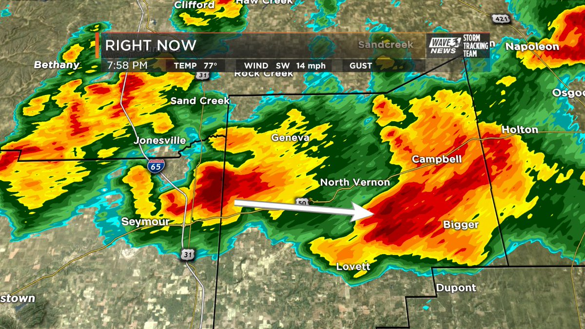 While there are no warnings at this time, some hail is likely moving i...