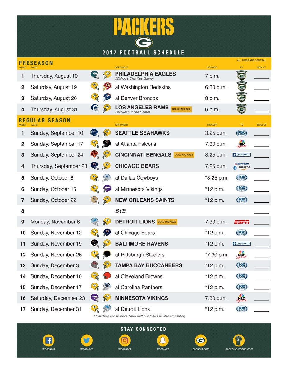 Witty image pertaining to green bay packers printable schedule