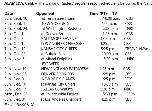 Here is the Raiders schedule. https://t.co/R0H2gpmjbi