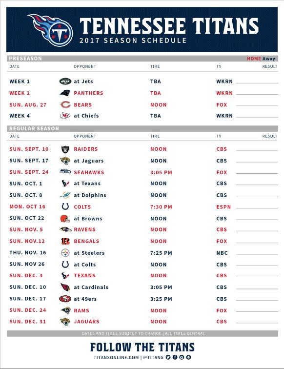 image regarding 49ers Printable Schedule known as Tennessee Titans upon Twitter: \