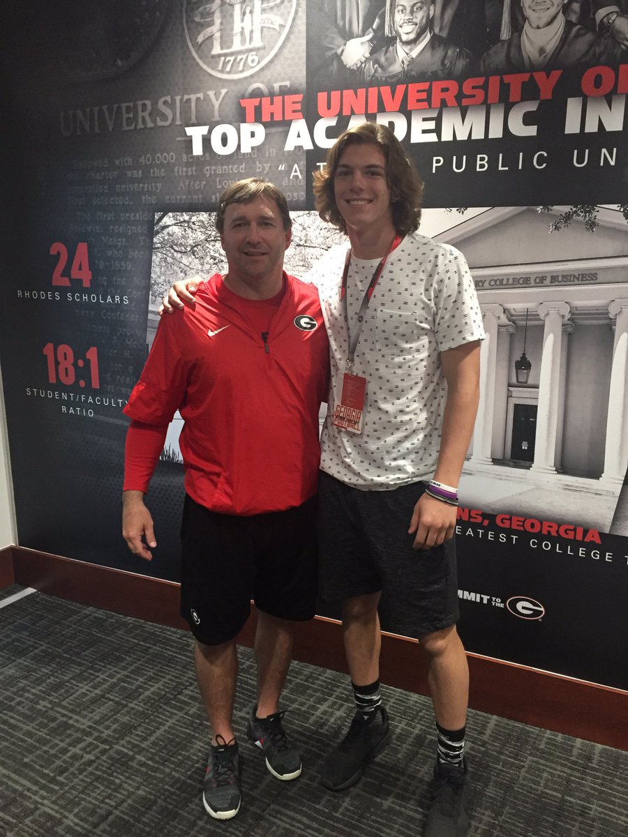 Cammon Cooper (right) with Georgia Head Coach Kirby Smart (Photo from Cammon Cooper/Twitter)