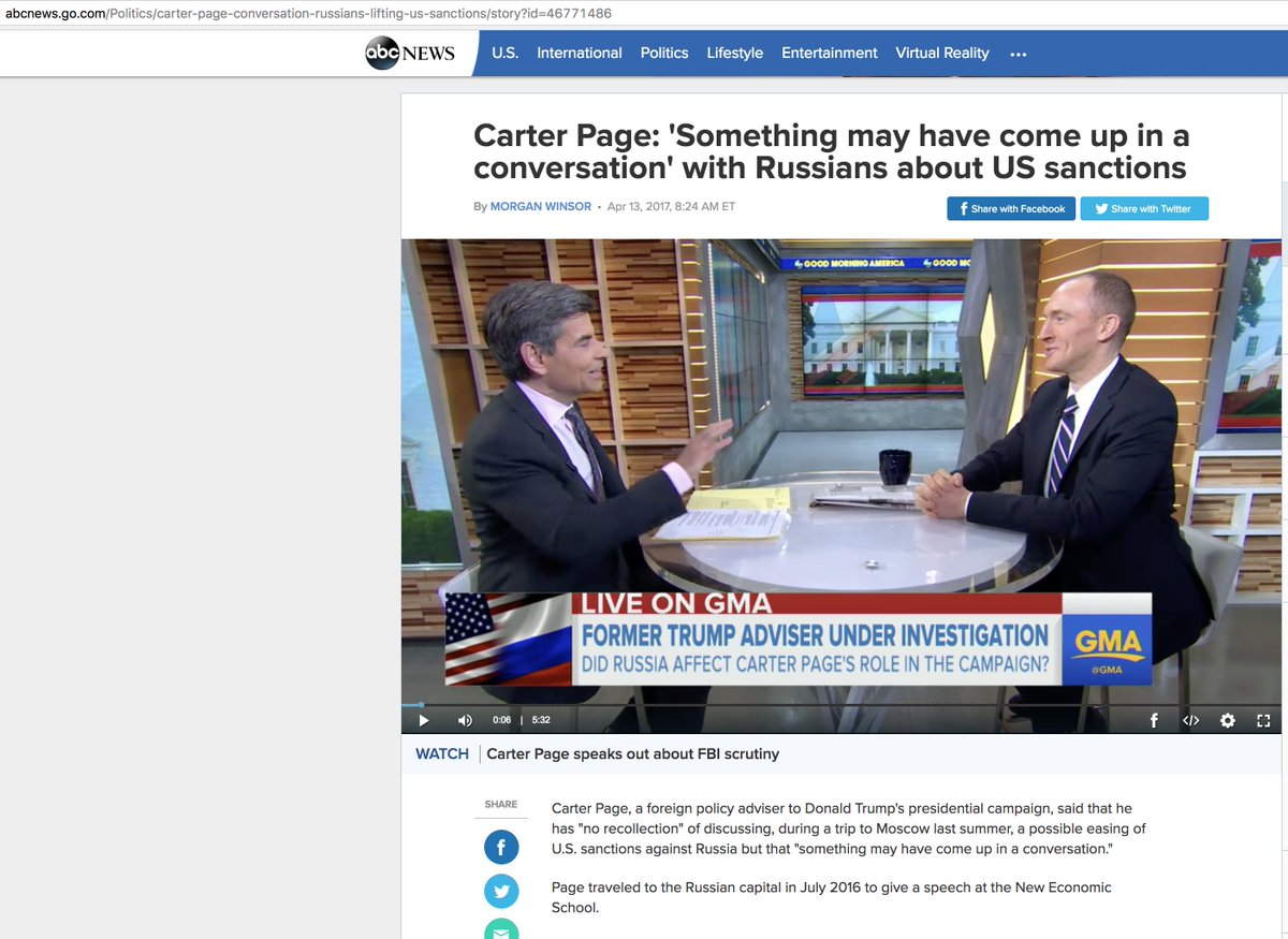 Carter Page says he may have spoken about sanctions with Russia-in Russia-last summer-while representing Trump   #trumpleaks #trumprussia<br>http://pic.twitter.com/XJHoiG7zRQ